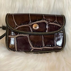 Dooney & Bourke Croc Embossed Leather Wristlet